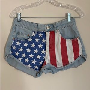 American Flag Denim Shorts from Top Shop